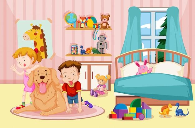 Niños y perro mascota en el dormitorio vector gratuito