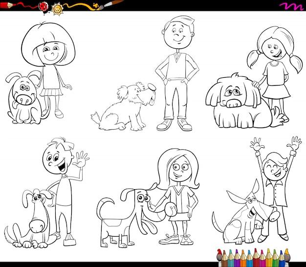 Niños y perros personajes para colorear | Descargar Vectores Premium