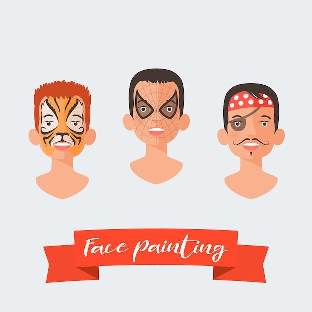 Los niños pintan la cara conjunto de ilustraciones vectoriales. caras con diferentes héroes pintados para fiesta infantil. maquillaje de tigre, araña, pirata Vector Premium