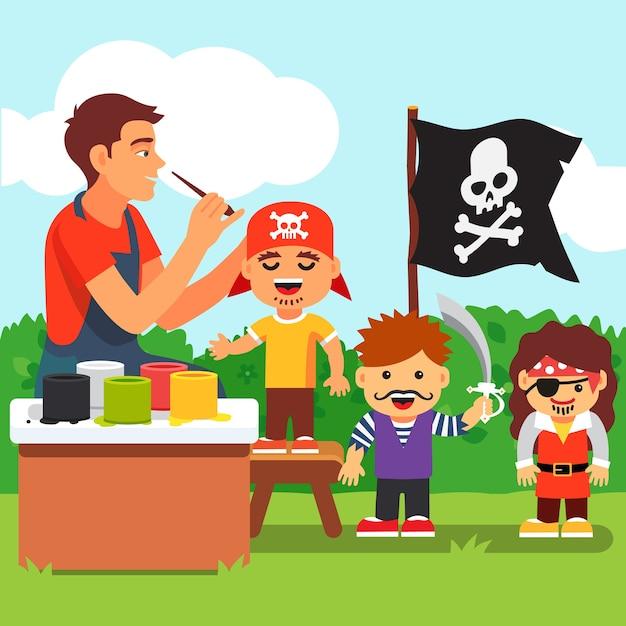 Los niños piratean la pintura de la cara en el jardín de infancia vector gratuito