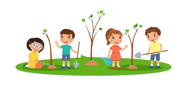 Los niños plantan árboles. lindos niños y niñas con espadas y regaderas. el concepto de ecología y medio ambiente. vector gratuito