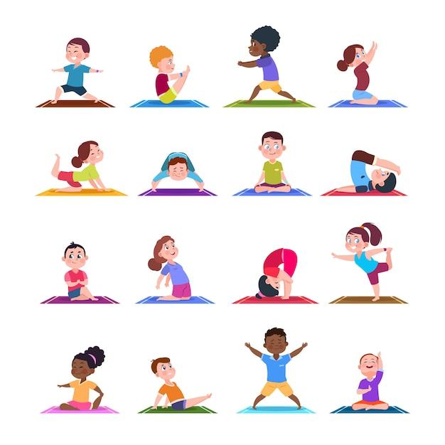 Ninos En Posturas De Yoga Dibujos Animados Fitness Ninos En Asanas De Yoga Conjunto Aislado De Personajes Vector Premium