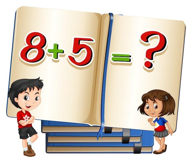 Niños y problema de matemáticas en el libro vector gratuito