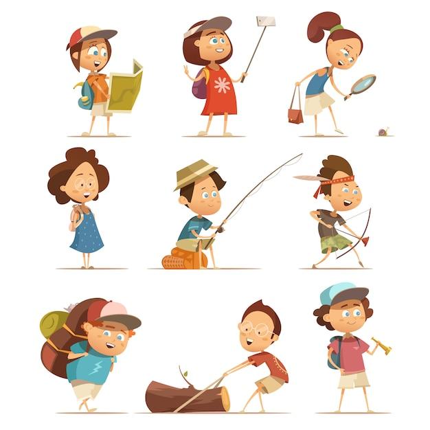 Los niños que acampan iconos de dibujos animados con equipo aislado ilustración vectorial vector gratuito