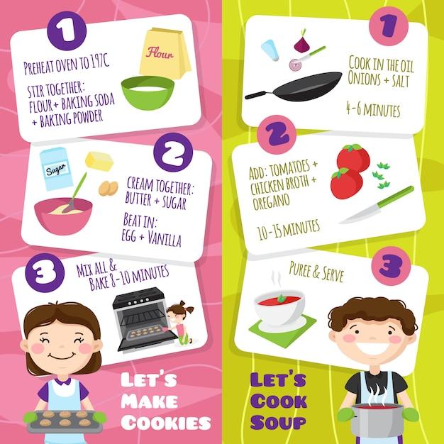 Los niños que cocinan pancartas verticales con personajes de dibujos animados estilo adolescente y tarjetas con consejos de cocina vector ilustración vector gratuito