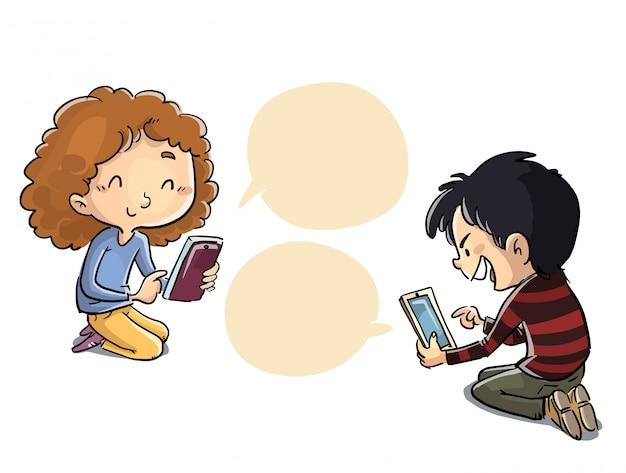 Niños que se comunican a través de las redes sociales. Vector Premium