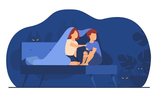 Los niños que cubren con una manta en la cama aislaron la ilustración de vector plano. dibujos animados de niños y niñas asustados viendo fantasmas y monstruos en la sala de noche. vector gratuito