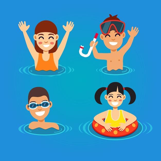 Niños que se divierten y que nadan en el mar vector gratuito