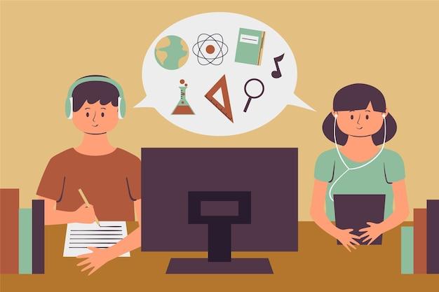 Niños que estudian lecciones en línea vector gratuito