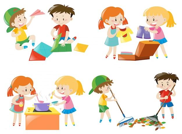 Niños que hacen diferentes actividades | Descargar Vectores gratis