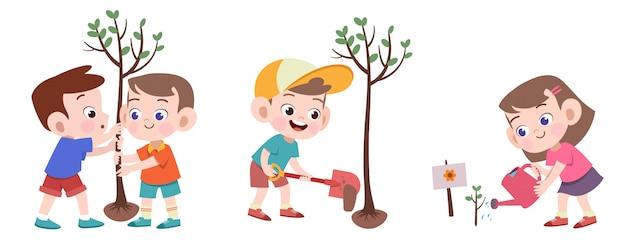 Niños que plantan el ejemplo del vector del árbol aislado Vector Premium