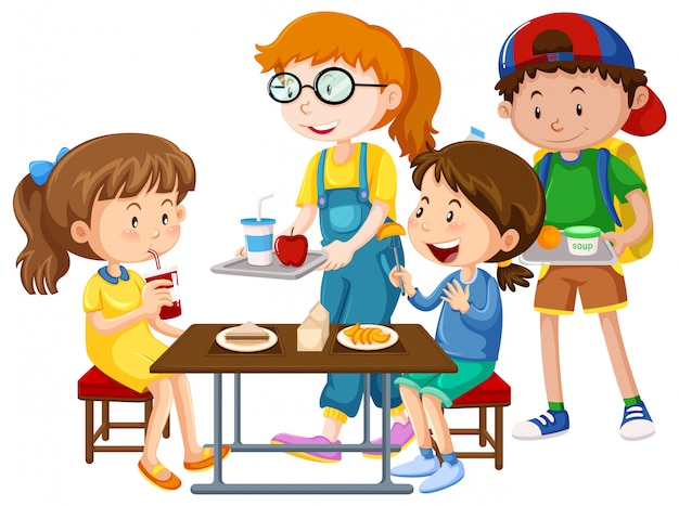 Niños que tienen comida en la mesa vector gratuito