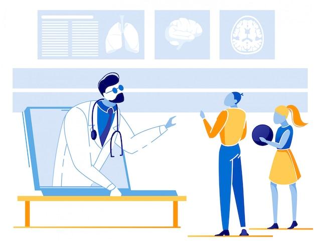 Niños que tienen consultas en línea con el médico Vector Premium