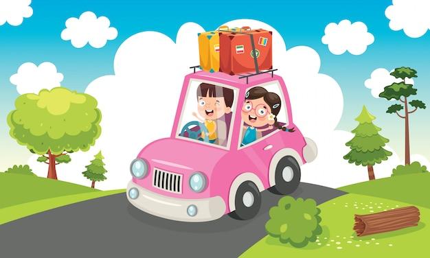 Niños que viajan con un auto divertido Vector Premium