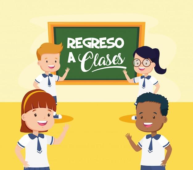 Niños de regreso a la escuela vector gratuito
