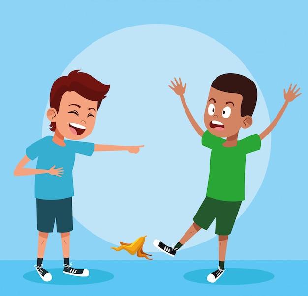 Niños riendo con bromas Vector Premium