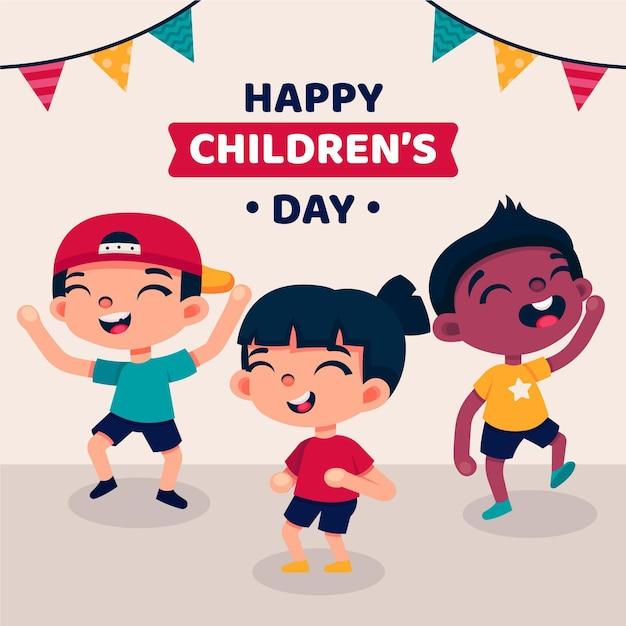 Niños riendo día mundial del niño. vector gratuito