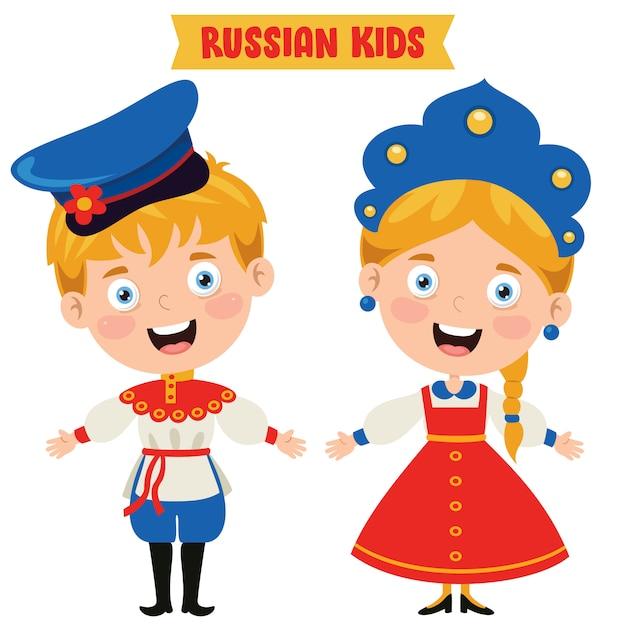 Niños rusos con ropa tradicional Vector Premium