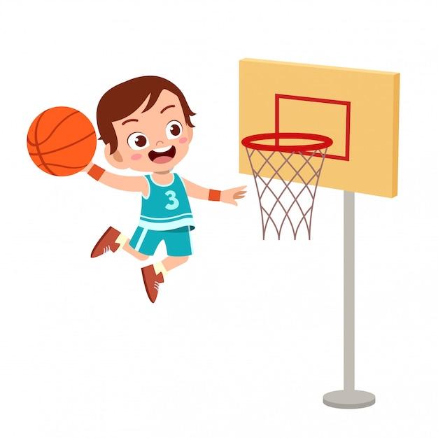 Los niños saltan baloncesto Vector Premium