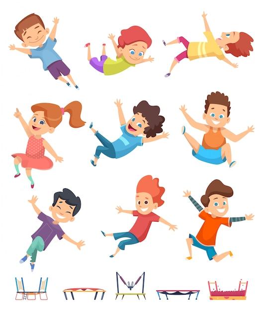 Ninos Saltando Trampolin Para Ninos Atletico Jugando En Juegos Activos De Juegos Infantiles Vector Premium