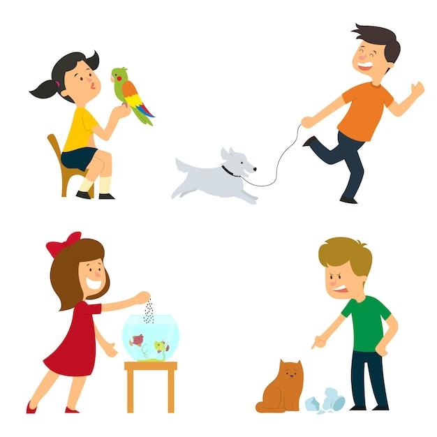 Los niños son atendidos, entrenados y juegan con sus mascotas. Vector Premium