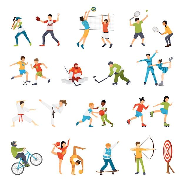 Niños sport icons set vector gratuito