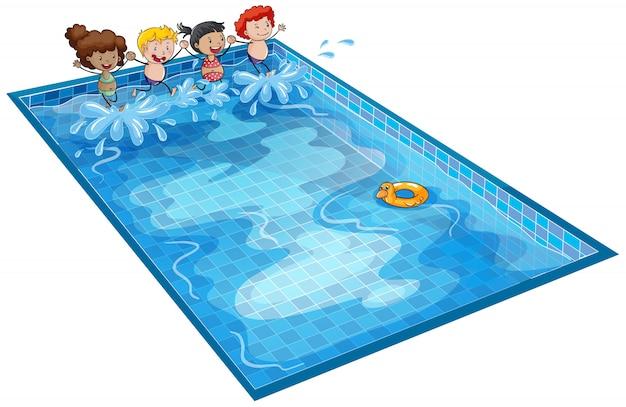 Niños en tanque de natación vector gratuito