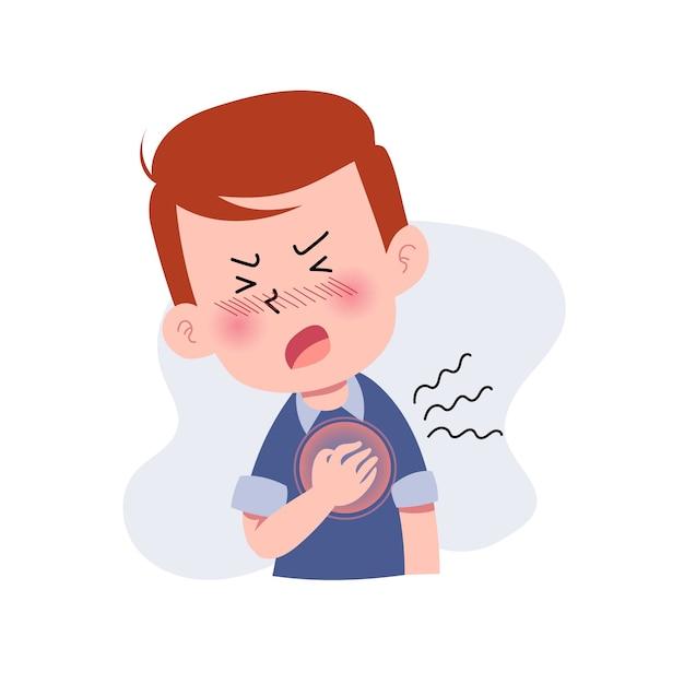 Vector Premium | Niños u hombres o personas con ataque cardíaco. personaje  con dolor en el pecho. angustia. expresión dolorosa en la cara. concepto de  enfermedad. aislado. ilustración en estilo plano de