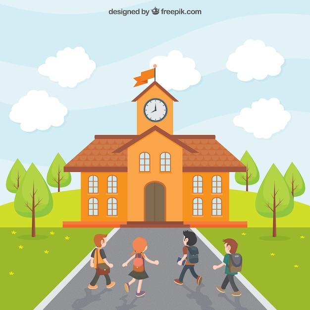 Los niños van a la escuela vector gratuito