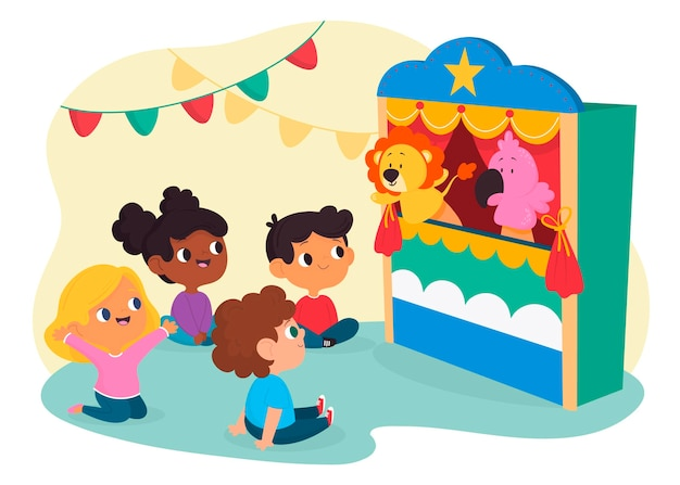 Niños viendo un espectáculo de marionetas juntos. vector gratuito