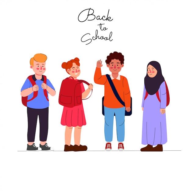 Niños de vuelta a la escuela de dibujos animados Vector Premium