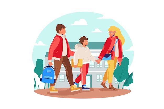 Los niños vuelven a la escuela con sus padres. vector gratuito