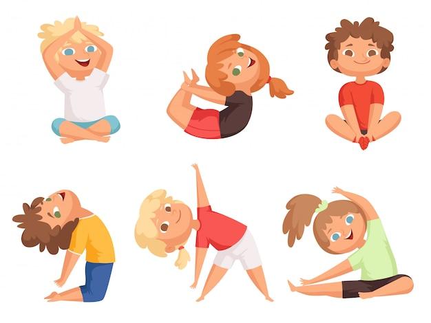 Niños de yoga niños haciendo diferentes ejercicios de yoga ...