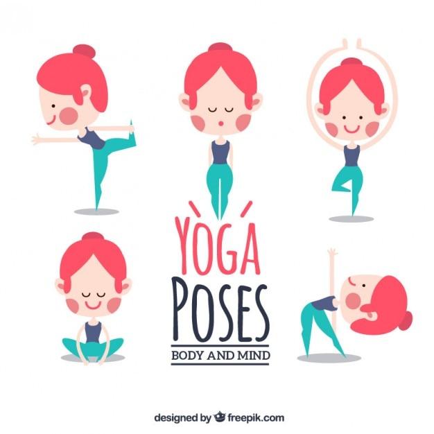Niza posturas de yoga chica haciendo Vector Gratis