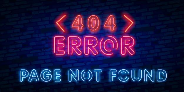 No se encontró el signo de neón de la página de error 404 Vector Premium