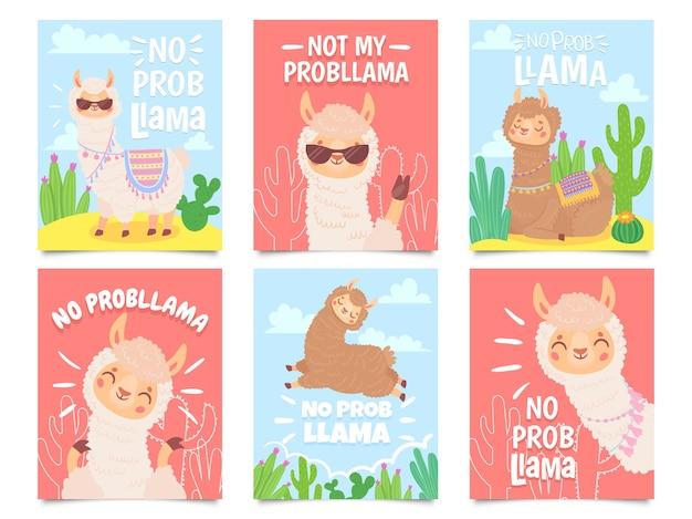 No hay carteles de llamas prob. lindas llamas no tienen problemas tarjetas de felicitación, hermosos animales salvajes vector gratuito