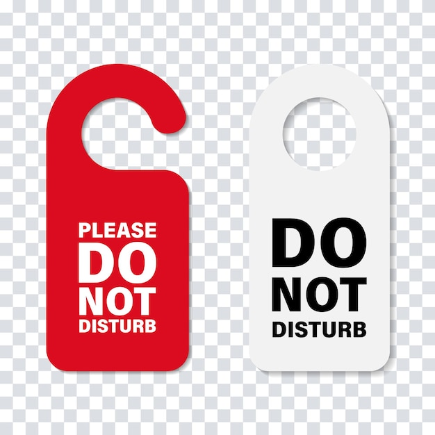 No molestar la señal de la puerta de la manija cartel de cartón de servicio de hotel aislado. mensaje de la puerta del hotel. Vector Premium