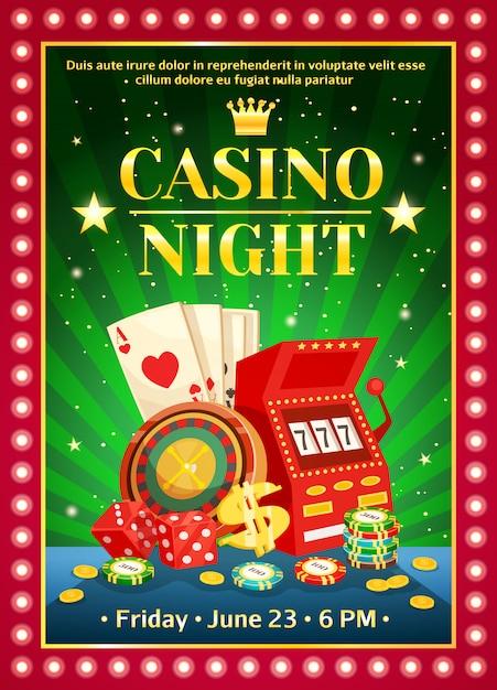 Noche brillante cartel de casino vector gratuito