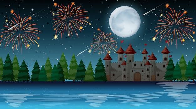 Noche de celebración sobre el castillo vector gratuito