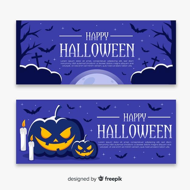 Noche de octubre pancartas planas de halloween vector gratuito