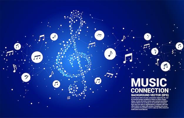 Nota clave de música de sol de vector de línea de conexión de punto Vector Premium