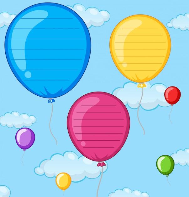 Una nota de globo vacía vector gratuito