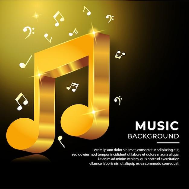 Notas acorde musical en estilo 3d con color dorado Vector Premium