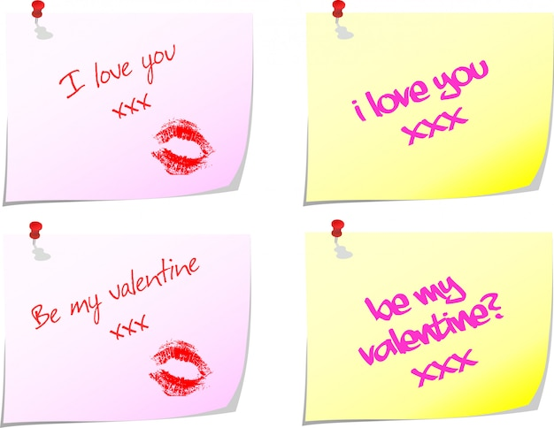 Notas de amor vector gratuito