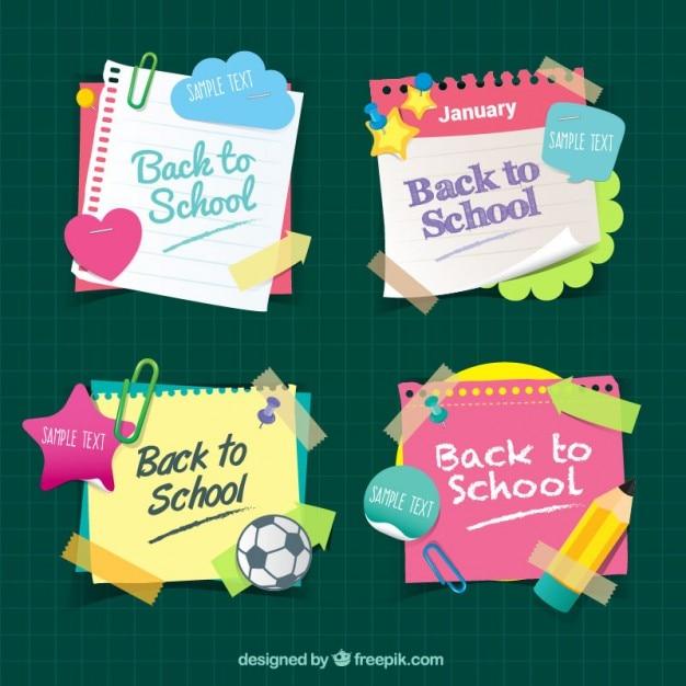 Notas coloridas de colegio vector gratuito