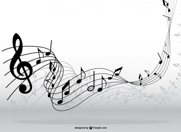 Notas musicales en movimiento vector gratuito