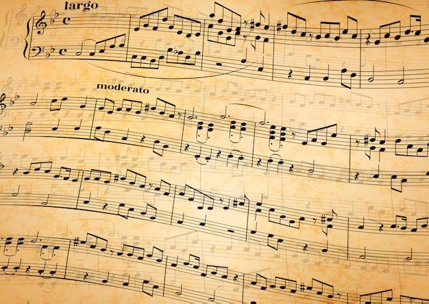 Notas musicales sobre bastón, fondo de papel viejo Vector Premium
