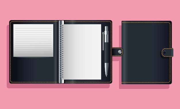 Notebook agend diseño de ilustración de vector de icono de maqueta negra Vector Premium