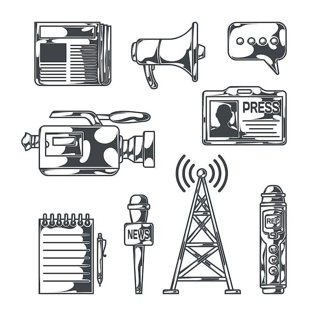 Noticias con imágenes de estilo boceto aislado de equipos de radiodifusión, grabadoras portátiles, bloc de notas, periódico e ilusión de vector de identificación vector gratuito