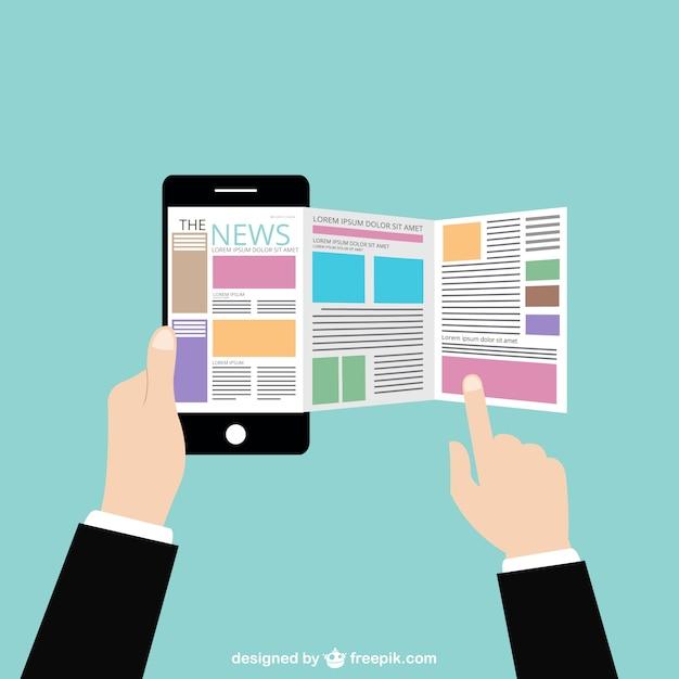 Noticias en línea vector gratuito